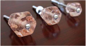 """1.25"""" PINK Glass Cabinet Knobs Pulls Vintage Dresser Drawer Hardware"""