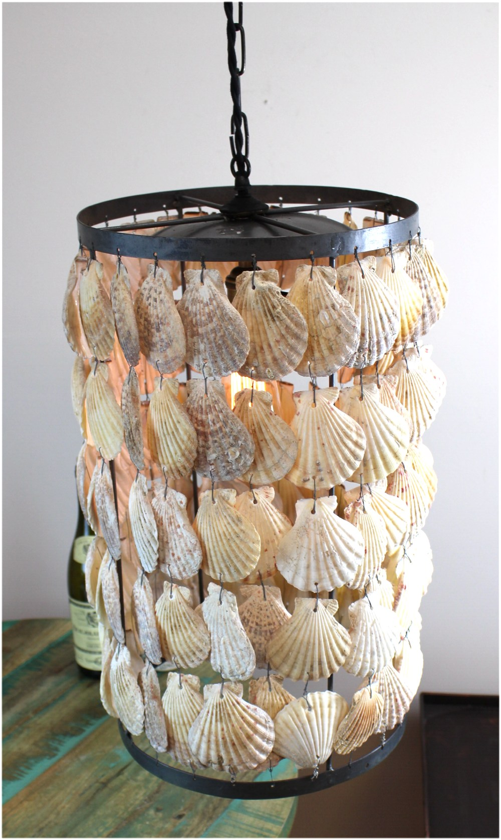 Round Cylinder Scallop Shells Chandelier Pendant Light with Iron Frame Hand Made