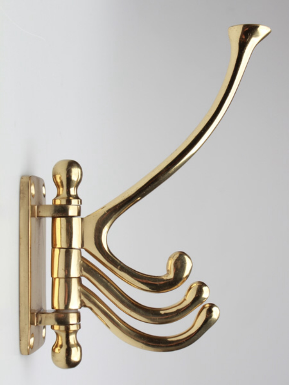 Three Arm Swivel Hook in Solid Thick Brass for Coats Towels Robe or more