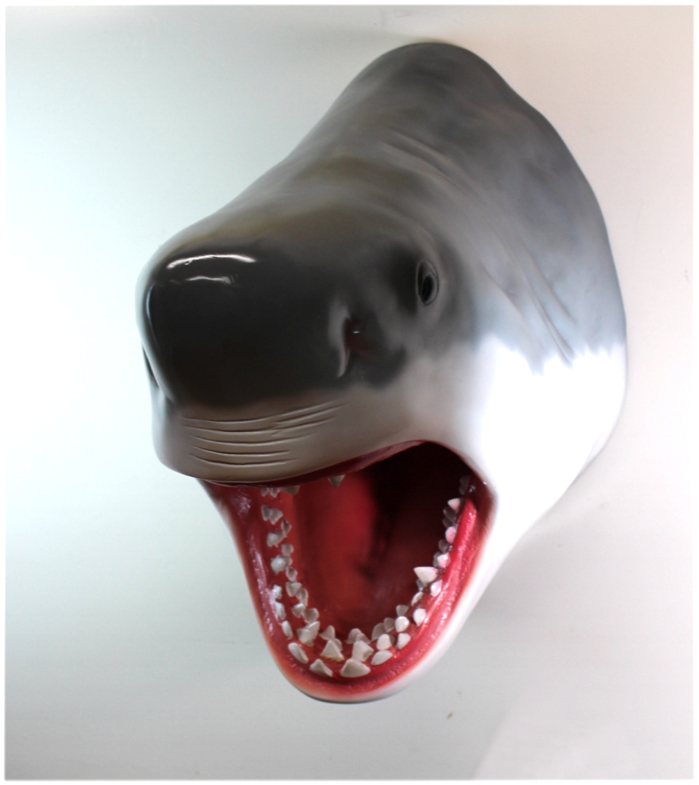 Giant Great White Shark Wall Head Trophy w Sharp Teeth, EXTRA Large Bust