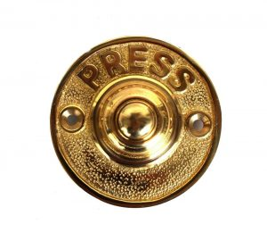 PRESS Solid Brass Old Antique Style Round Retro Door Bell Push Button
