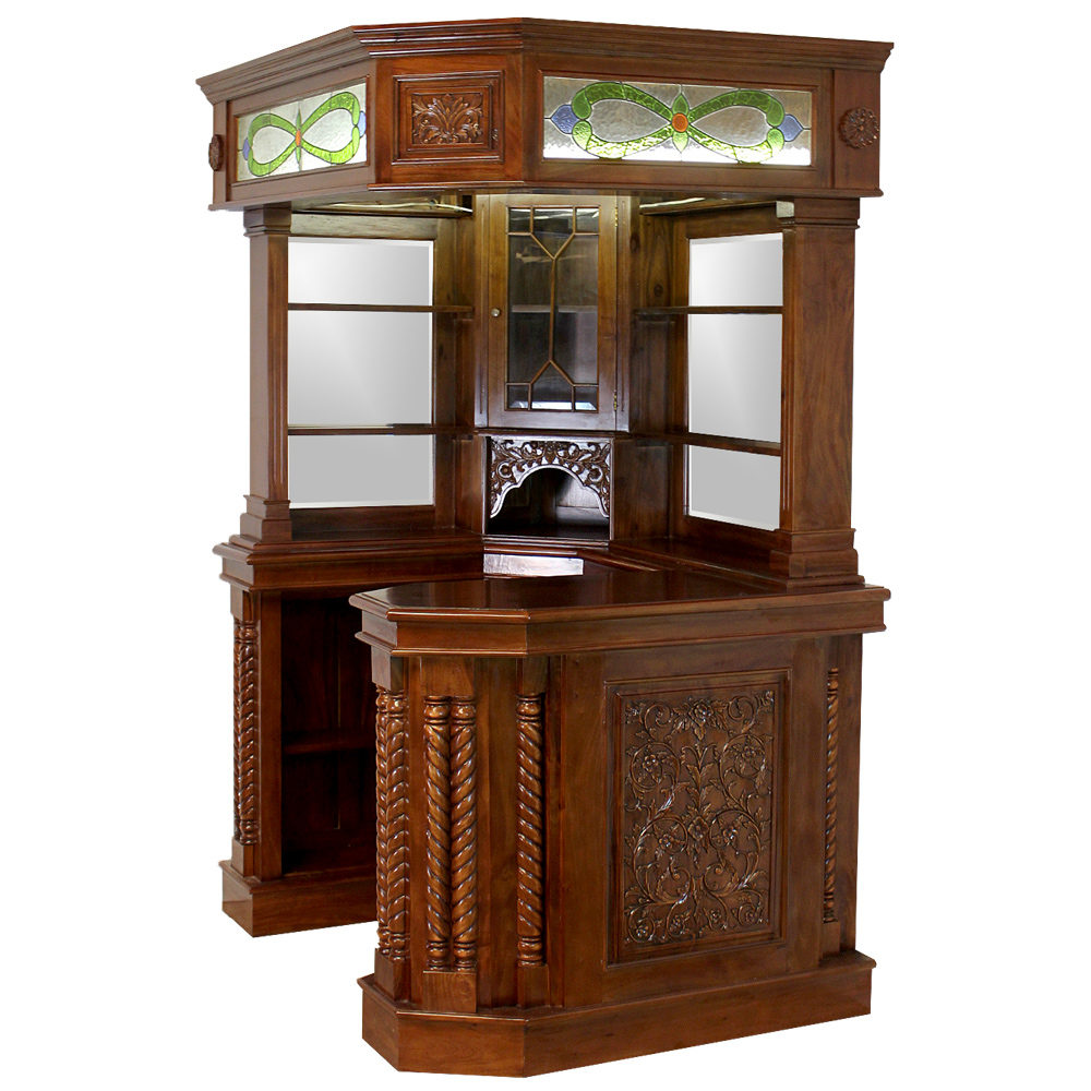 Solid Mahogany Corner Home Bar Furniture With Tiffany Glass Canopy Antique Replica 1 The Kings Bay