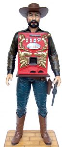 Cowboy Slot Machine w Gun Old Western Vintage REPRODUCTION Las Vegas Statue