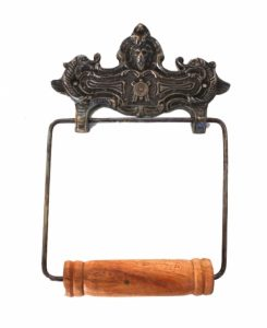 Wall Mount French Vintage Style Toilet Paper Holder in Aged Bronze