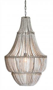 "BIG Wood and Metal White Washed Beaded Chandelier, 42"" Tall Light, High Design"