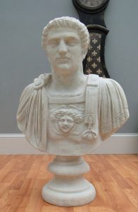 Faux Stone Marble GLADIATOR BUST STATUE with Wings, Emperor Constantine
