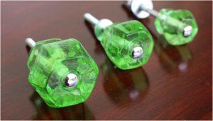 """1.25"""" GREEN Glass Cabinet Knobs Pulls Vintage Dresser Drawer Hardware"""