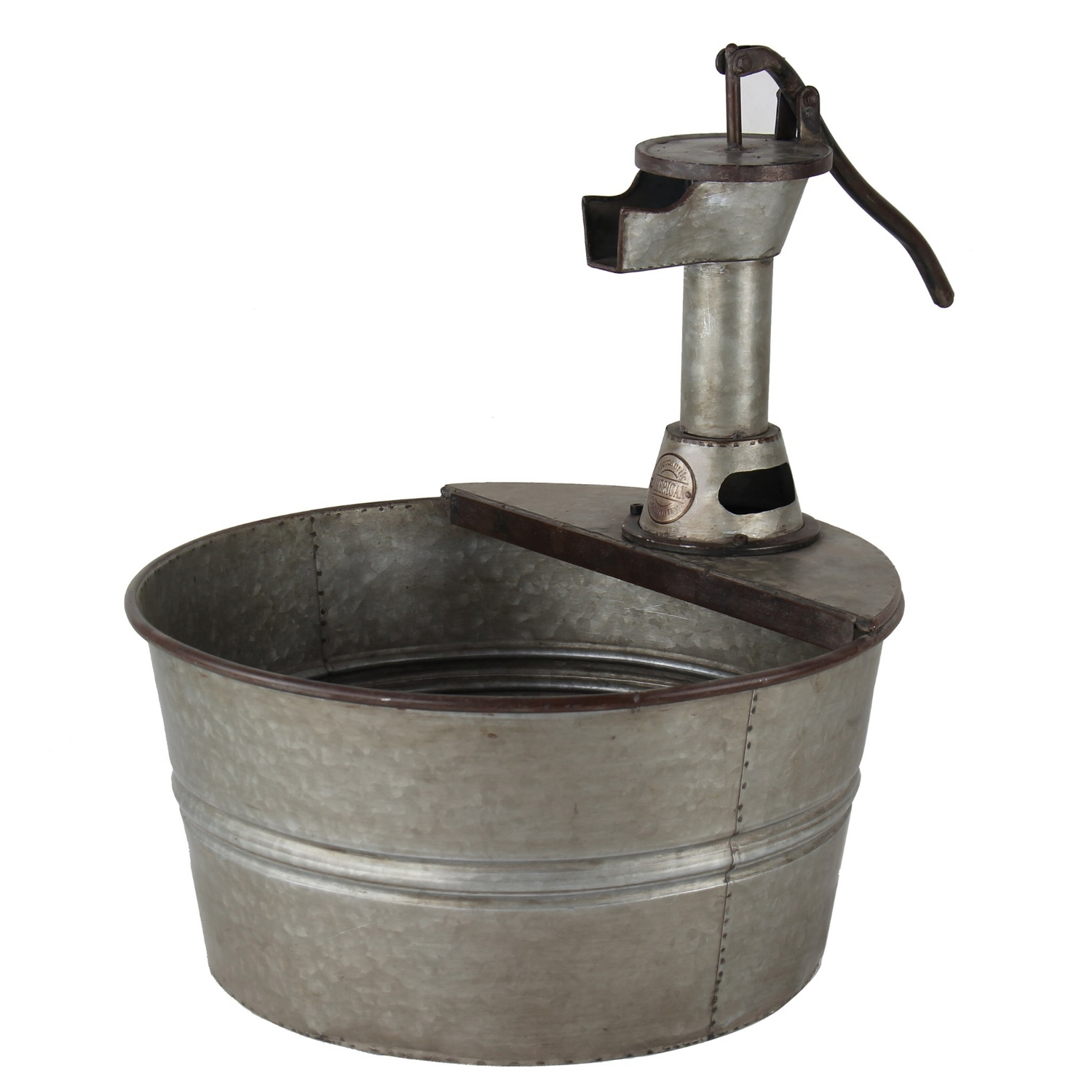Old fashioned country tin tub with hand pump garden for Tin tub planters