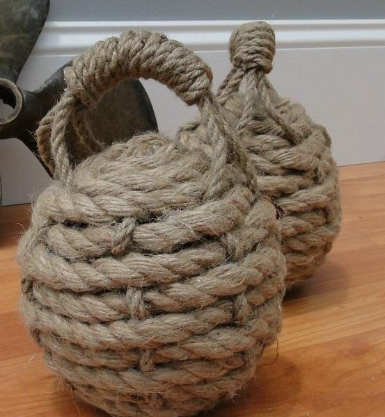 Hemp rope ball heavy door stop monkey fist nautical for Heavy rope for nautical use