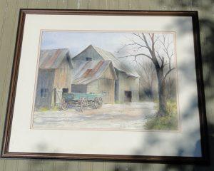Emerick C Malogorski Dayton Middletown Ohio Watercolor Painting of BARN, Wagon & Farm