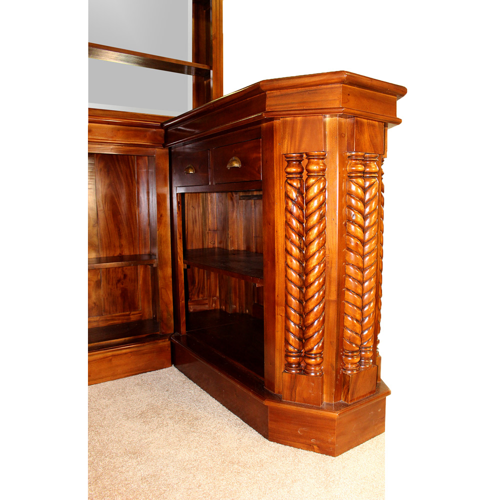 Solid Mahogany Corner Home Bar Furniture With Tiffany Glass Canopy Antique Replica 6 The Kings Bay