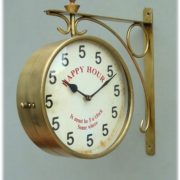 Vintage Style Wall Mounted Happy Hour Clock with Brass Frame