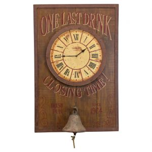 Large ONE LAST DRINK Sign with Bell and Clock for Closing Time Home Bar Decor