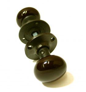 Mini Brown Ceramic Door Knob, Cast Iron Base, Old Replica Hardware (Pr)