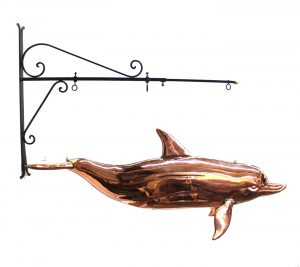 Copper DOLPHIN TRADE SIGN Weathervane Old Style Nautical Sea Figure Beach Sailing