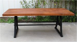 Industrial Vintage Conference Kitchen, Dining Room Table w Cast Iron Legs Antique Style