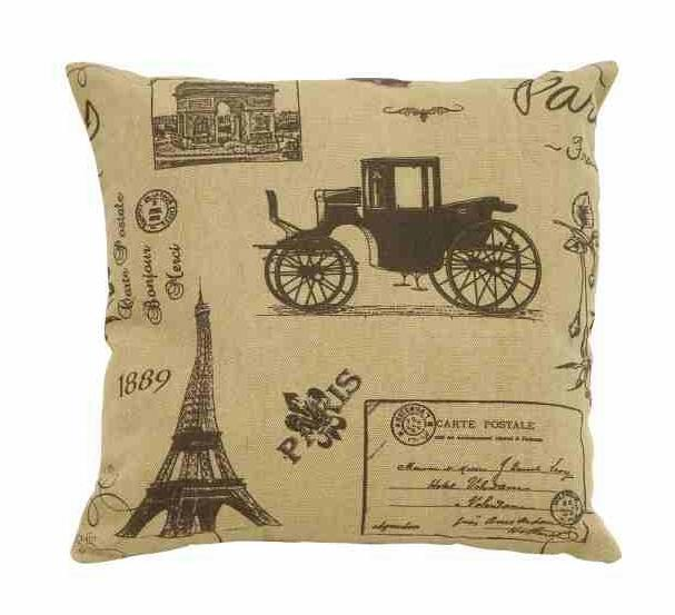 Vintage 1889 Date French Pillow w Buggy Post Office Card & Eiffel Tower