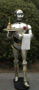 SILVER ROBOT 3' Statue w tray movie C3PO star wars butler man cave kitchen