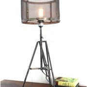 Tripod Table Lamp with Wire Mesh Aged Metal Shade Industrial Factory Lighting