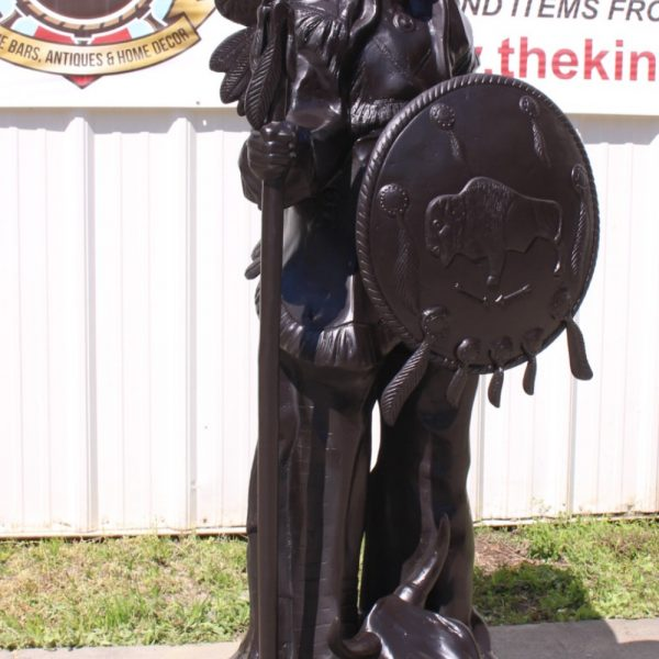 Indian Chief With Skull Shield Spear Headdress Native American Bronze Statue 6'