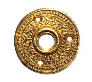 "Brass Victorian Rosette Round Door Plate ""The York"" Vintage Style"