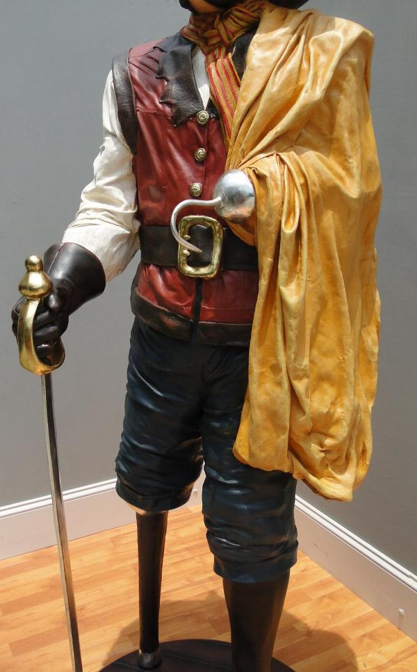 6' Life Size Captain Hook Caribbean Pirate Statue with Wood Peg Leg Nautical