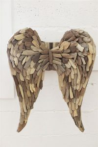 Large Angel Wings In Beach Oriented Driftwood Construction Big Cherub Theme