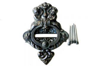 Large Heavy CAST BRASS DOOR KNOCKER Vintage Victorian Antique Bronze Finish