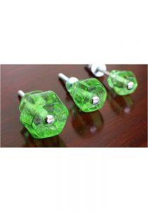 """1"""" GREEN Glass Cabinet Knobs Pulls Vintage Dresser Drawer Hardware 10 pcs"""