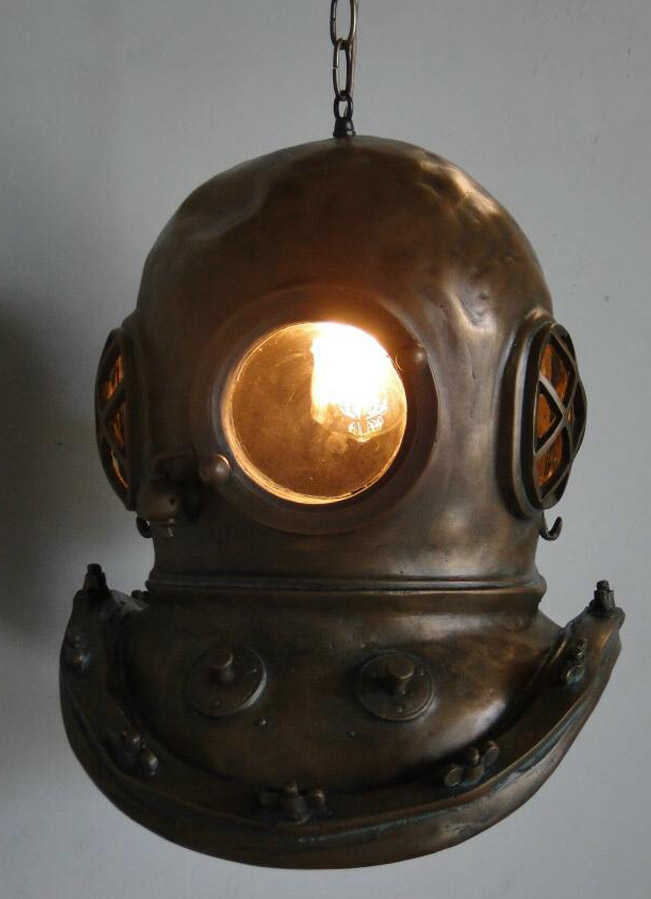 Bronze Steampunk Bioshock Infinite MARK V DIVERS HELMET CHANDELIER, Old Stye Light Fixture 1