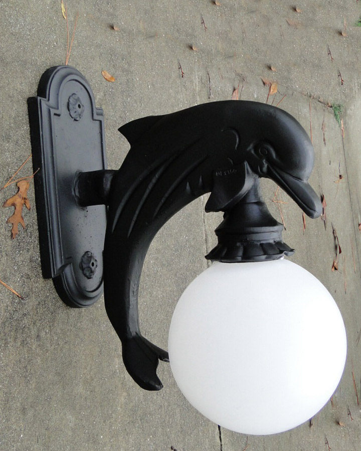 Wall Mounted DOLPHIN SCONCE light indoor or outdoor metal nautical sea decor