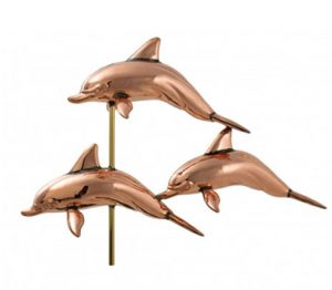 Three DOLPHINS pod copper WEATHERVANE old fashioned shore beach decor NEW