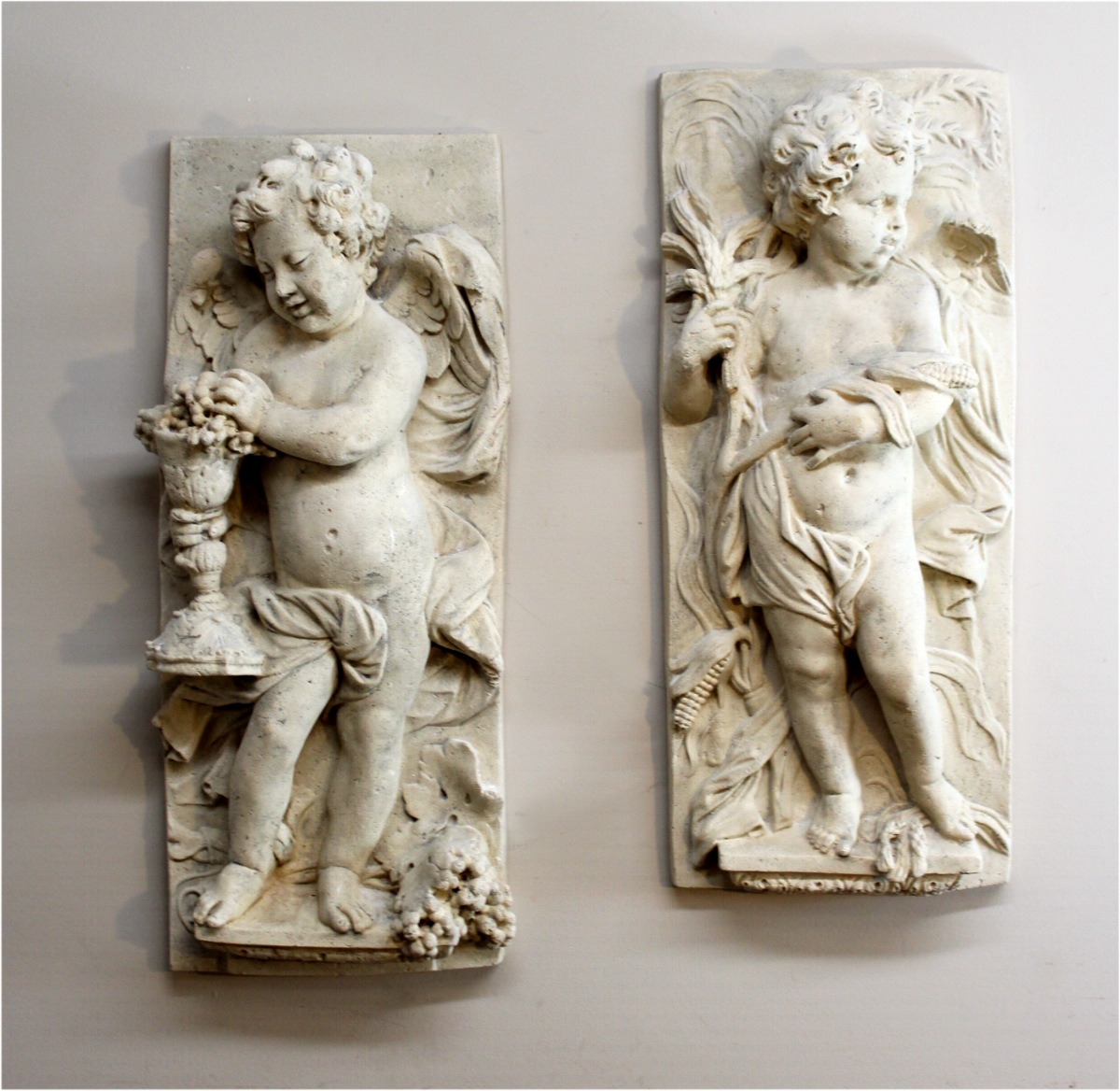 Wall Big Garden Cherub Plaques Pr Angel Wings Roman Faux