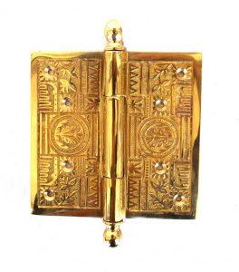 "Victorian Motif Large 5"" Solid Brass Door Butt Hinge Restoration New Hardware"