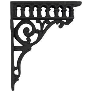 Victorian antique REPRODUCTION Cast Iron Shelf Bracket w black paint, Roman column