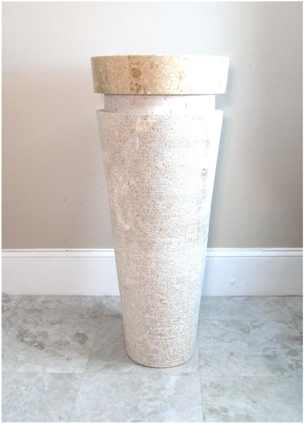 Contemporary Modern Marble Stone Cone Pedestal Sink