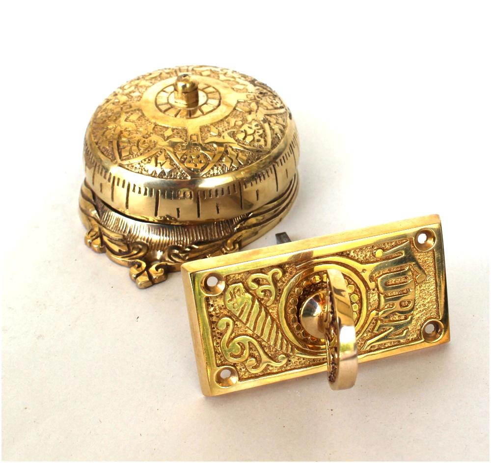 Twist Door Bell antique vintage REPLICA brass door hardware non electric hand crank 1
