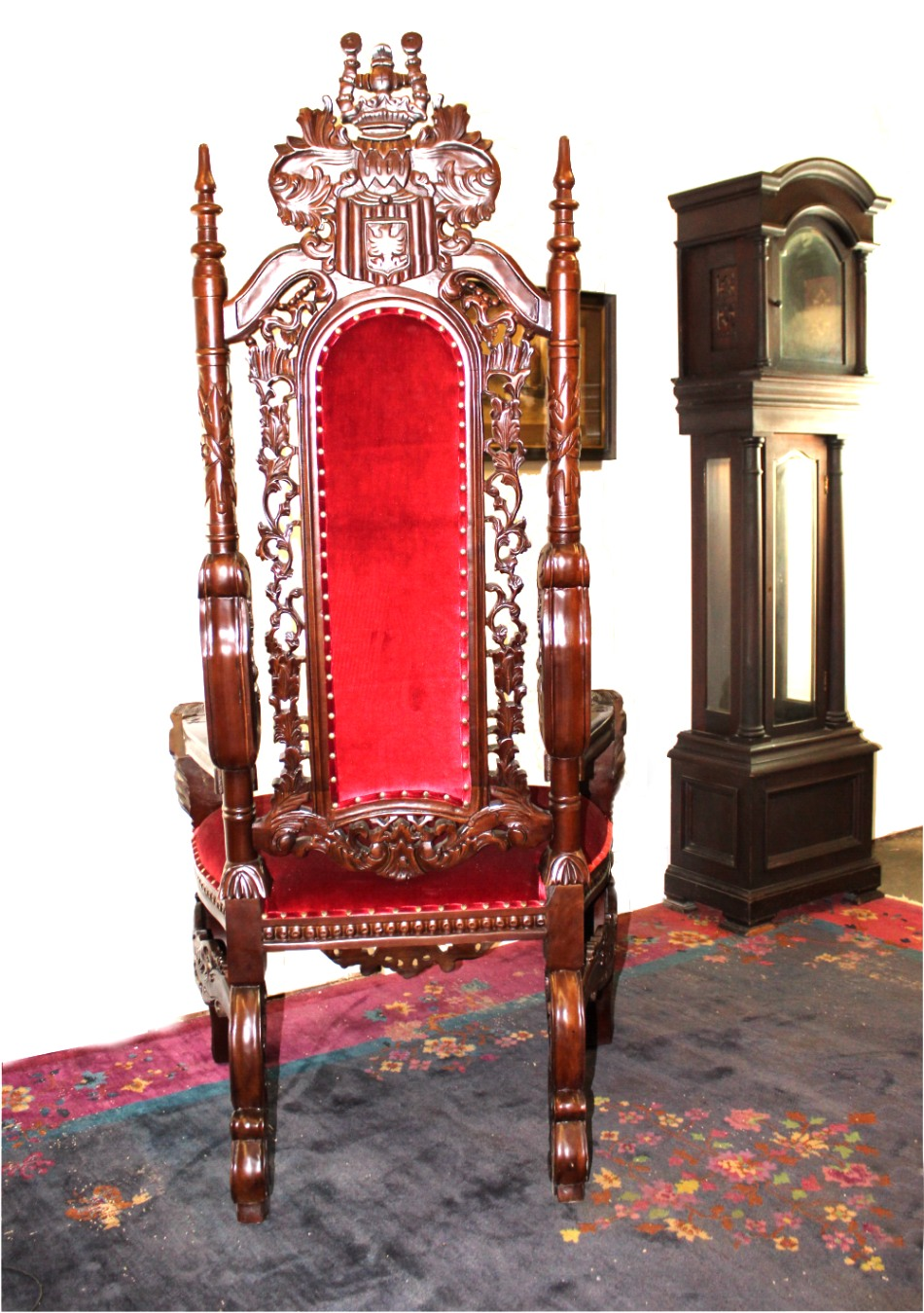 ... Giant Mahogany Throne Chair For King / Queen Or Maybe Santa Claus,  Antique Red Velvet