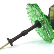 Pressed Glass Green Curtain Tieback or Hold Back for Drapery Hardware PAIR