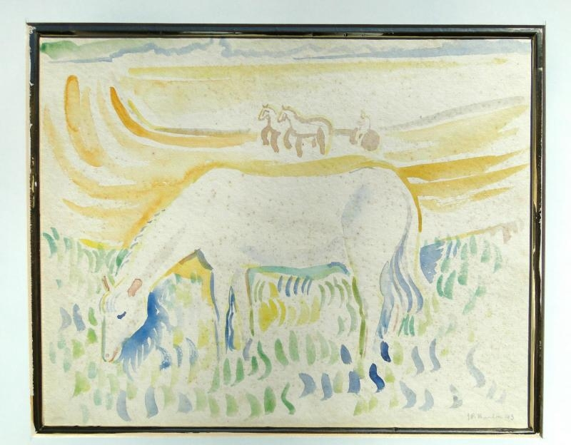 Jack Paul HANLON (1913-1968) Watercolor Painting of Horse Grazing & Landscape, RARE