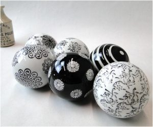 Set of 6 Black & White China Balls w Timeless Patterns, Set of Six Different Ceramic Balls