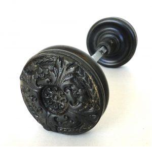 Vintage Brass Swirl Center Big Victorian Arts and Crafts Style DARK AGED Door Knob Pair