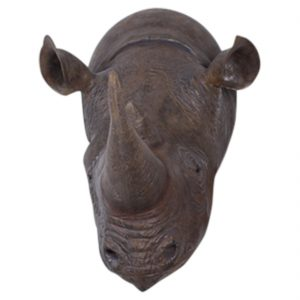 Life Size Rhino Rhinoceros Wall Head Bust Huge for Hunting Lodge Restaurant or Bar Decor