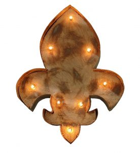 Fleur De Leis Lighted Metal Tin Wall Sign, French Vintage Style