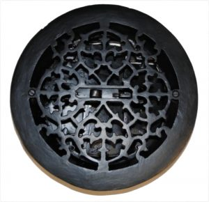 Round Cast Iron Floor Register Louvered Heat Grate Antique Vintage Style