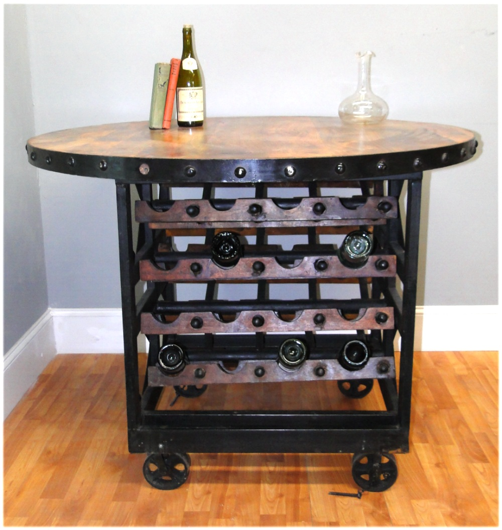 Round Wood Iron Factory Wine Rack Table With Rolling