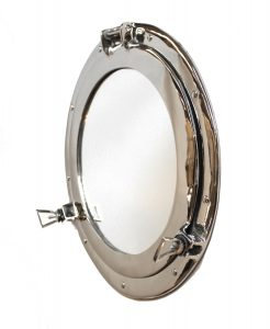 Silver Porthole Mirror over solid brass HIGH QUALITY nickel chrome satin old 11""