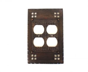 Arts and Crafts - Mission Bungalow Oil Rubbed Bronze Double Duplex Outlet Switch Plate
