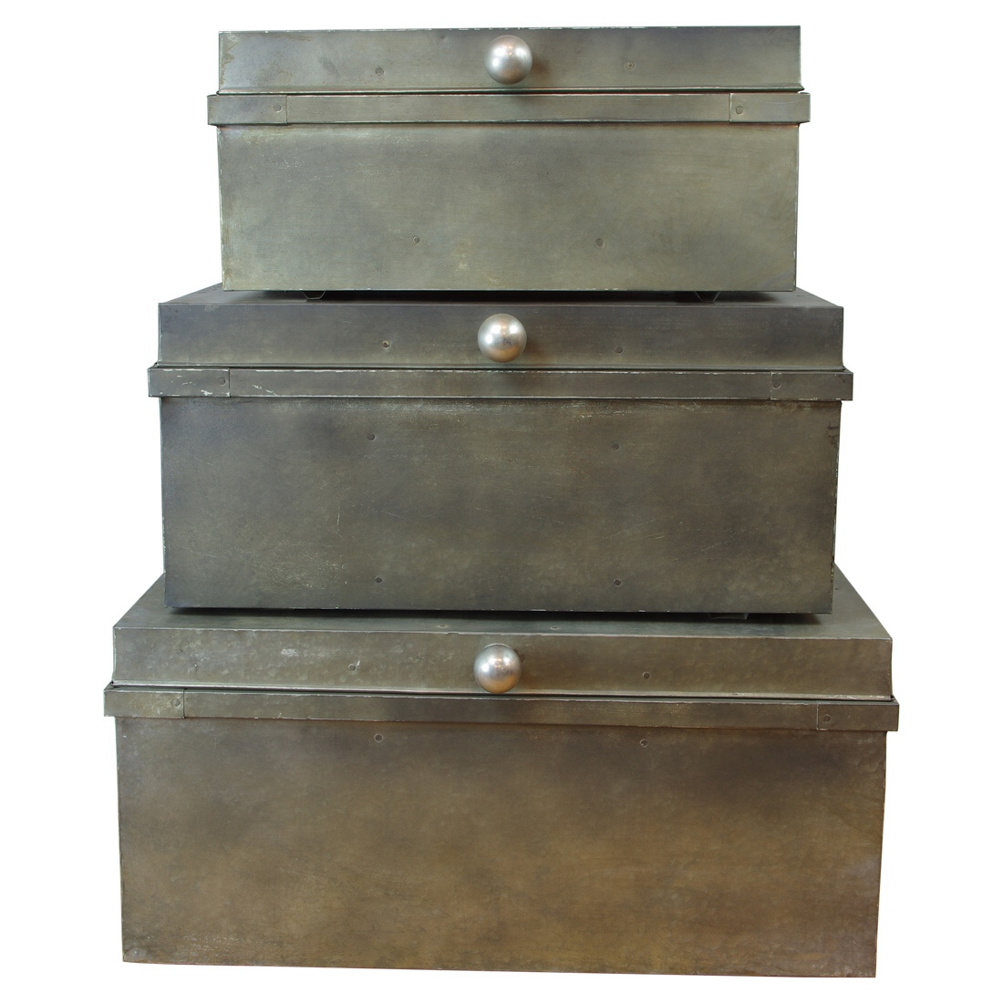 Metal Factory Nesting Boxes SET 3pcs Trunks Iron Hand Made Old Industrial