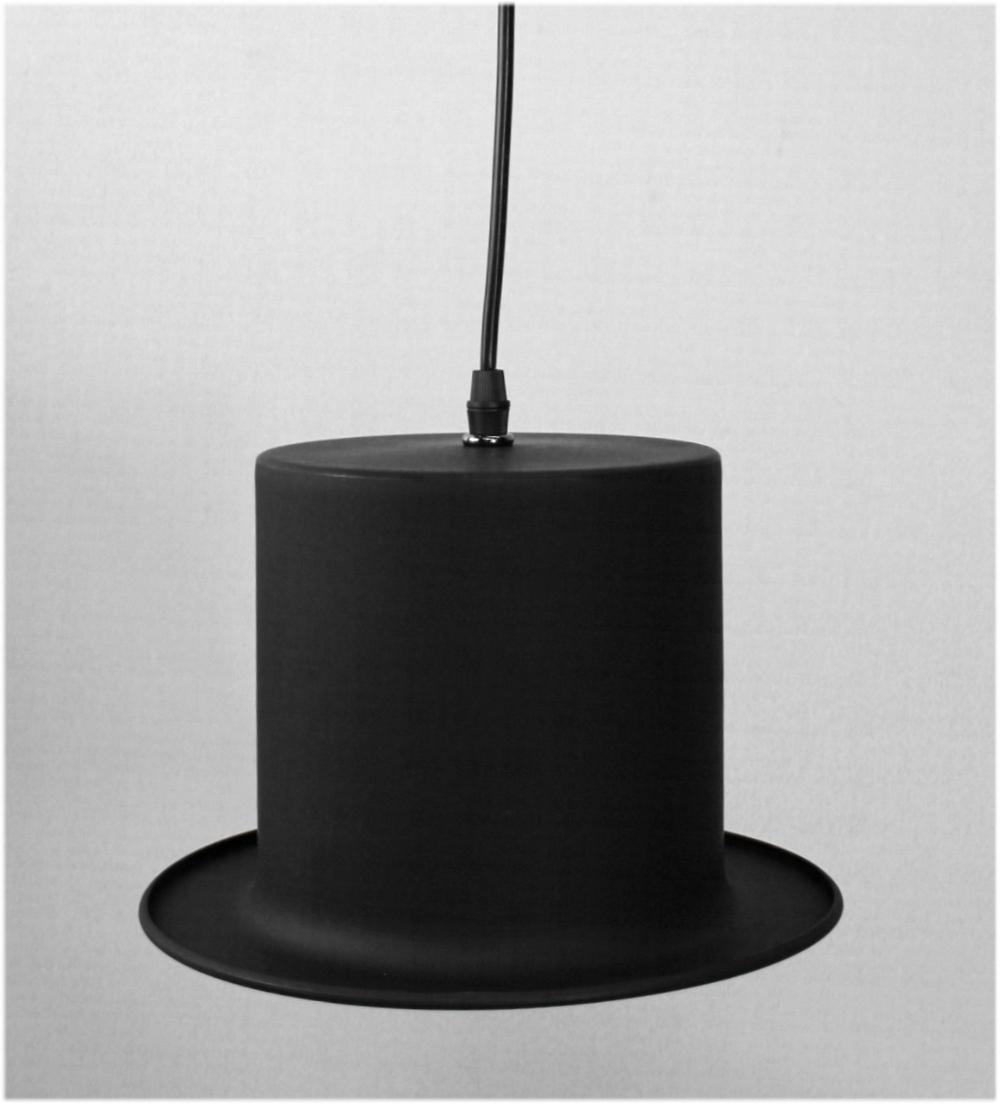 Black TOP Hat Hanging Pendant Light Fixture Roaring 20's Style w Gold Interior